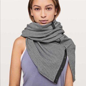 Lululemon Heather Herringbone Vinyasa Scarf Wrap Grey White